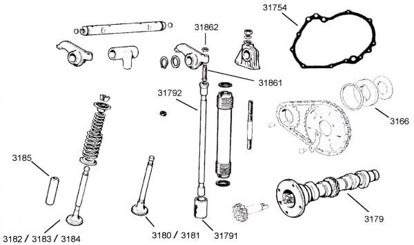Auslassventil Fiat 500 R / Fiat 126 -1 Nut-
