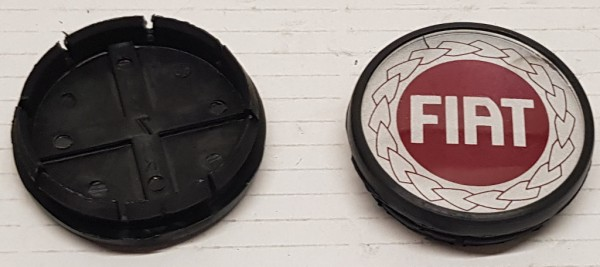 4x Kappe für Felge, Radnabe, Nabenkappe FIAT rot