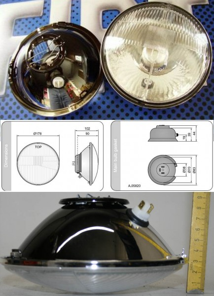 H4 Scheinwerfer mit Ringbefestigung 124 Spider, X19, 850 Spider, Fiat 238