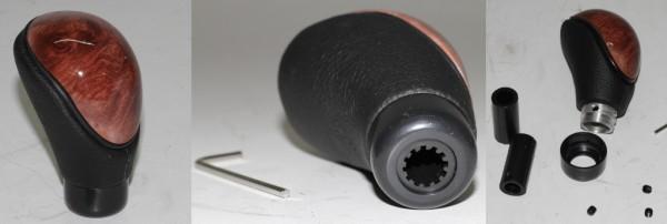 Universal-Schaltknauf mit Lederbesatz und Wurzelholzoptik