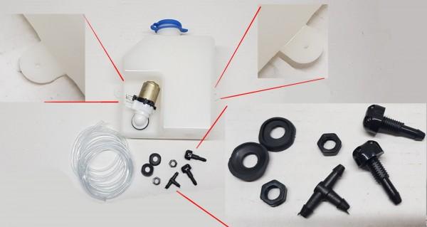 Scheibenwaschbehälter 1,3 L inkl. Pumpe & Zubehör Fiat 124, 125 , 131 usw