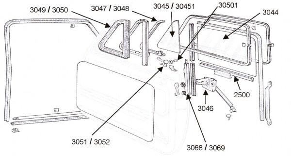 Dichtung für Ausstellfenster Fiat 500 F / L / R rechts