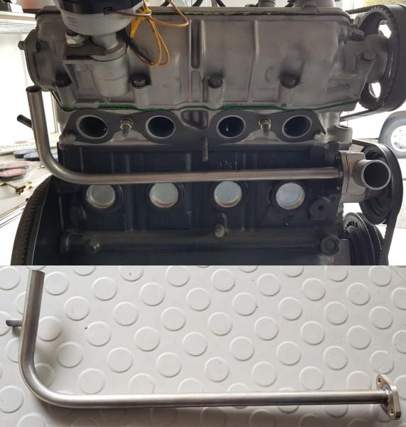 Heizungsrohr Wasserrohr V4A unterm Auspuffkrümmer Fiat 124 Spider, 125, 131